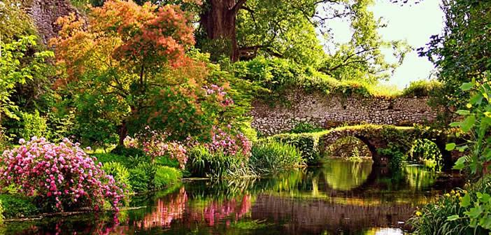 giardino all'inglese con ninfe